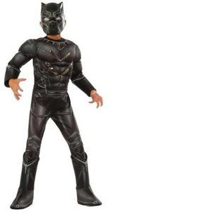Boys Black Panther Metallic Muscle Costume- S & L